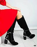 Демісезонні чорні замшеві чоботи на круглому підборах, фото 5