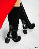 Демісезонні чорні замшеві чоботи на круглому підборах, фото 6