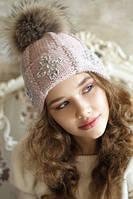 """Зимняя шапка  с меховым помпоном """"Эльза""""., фото 1"""