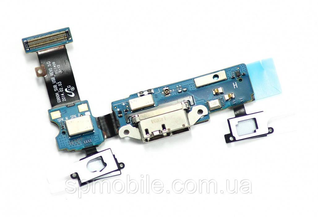 Шлейф Samsung G900H Galaxy S5 коннектор зарядки, микрофон, гарнитура Original