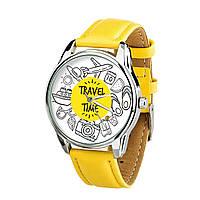 """Часы """"Время путешествий"""" (ремешок лимонно - желтый, серебро) + дополнительный ремешок"""