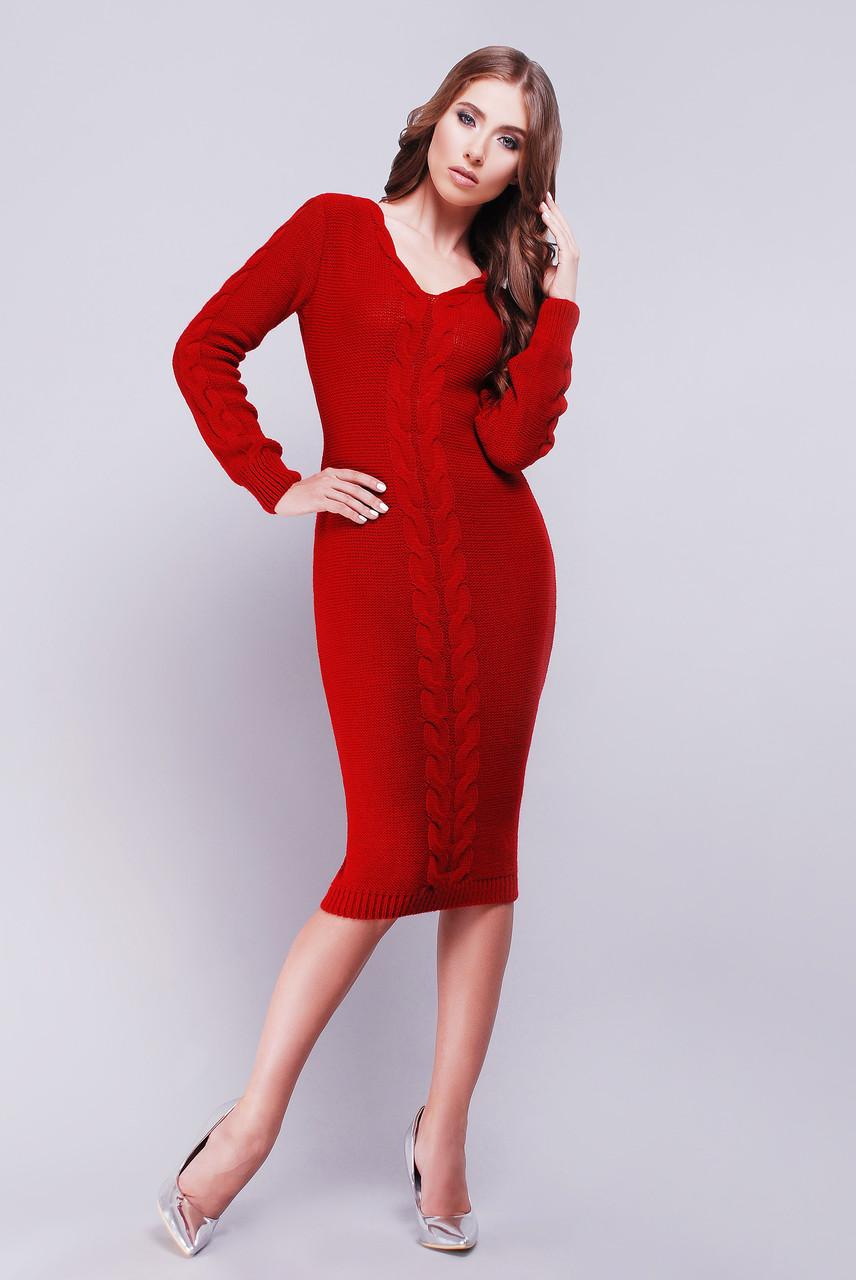 Вязаное платье V вырез вишневый