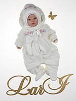 """Комплект для новорожденных """"Бантик"""" (человечек с шапочкой). Молочный, фото 1"""