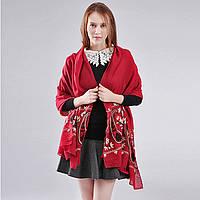 Красивый женский шарф накидка летний бордовый с вышивкой