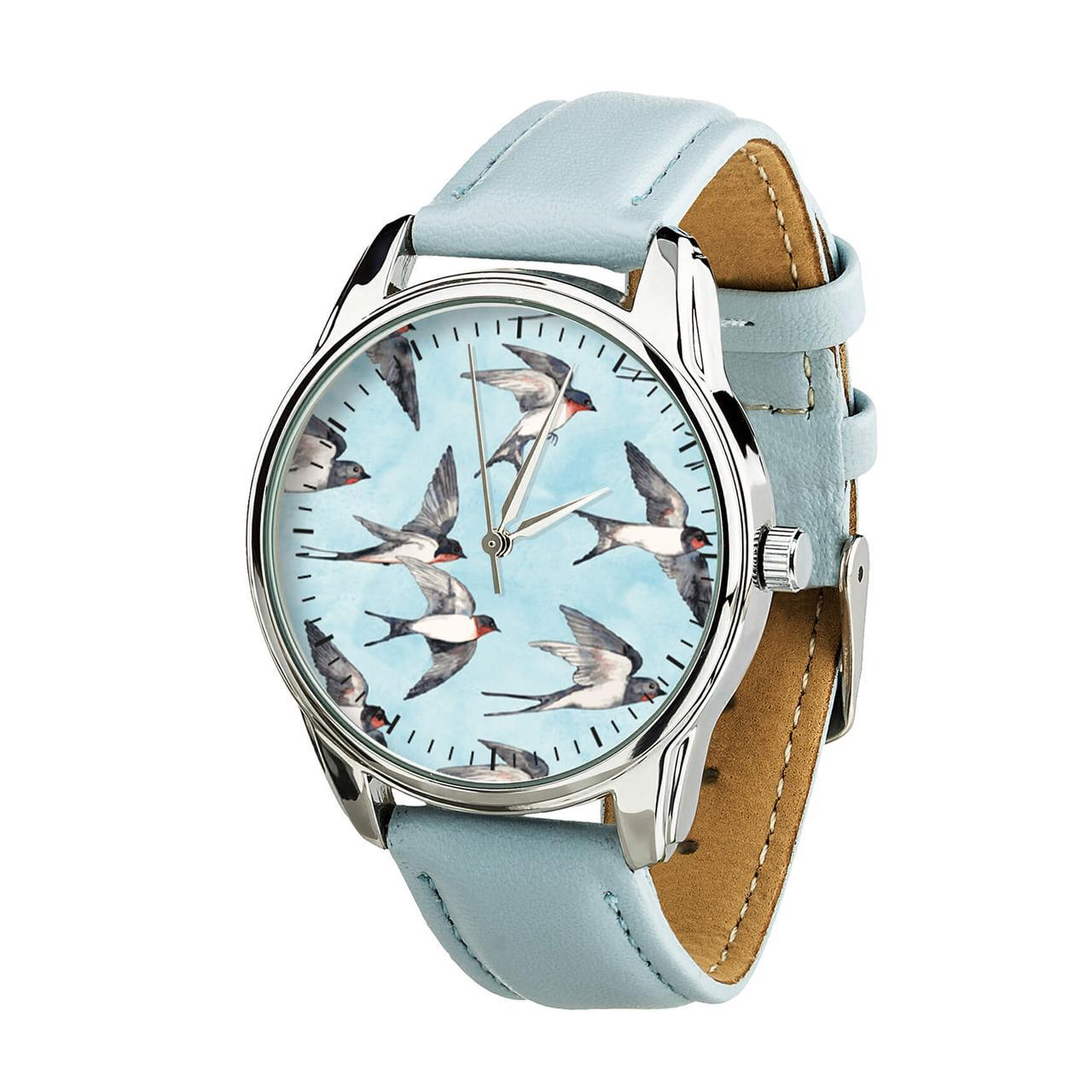"""Часы """"Ласточки"""" (ремешок нежно - голубой, серебро) + дополнительный ремешок"""