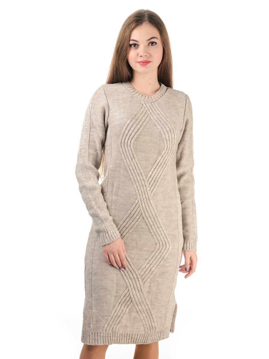Теплое вязаное платье бежевый