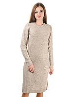 Теплое вязаное платье бежевый, фото 1