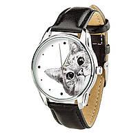 """Часы """"Эй, Кот!"""" (ремешок насыщенно - черный, серебро) + дополнительный ремешок"""