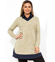 Туника с имитацией рубашки с воротником поло размеры от XL 3151