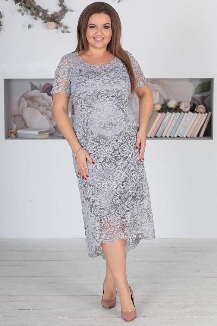 Платье гипюр серое