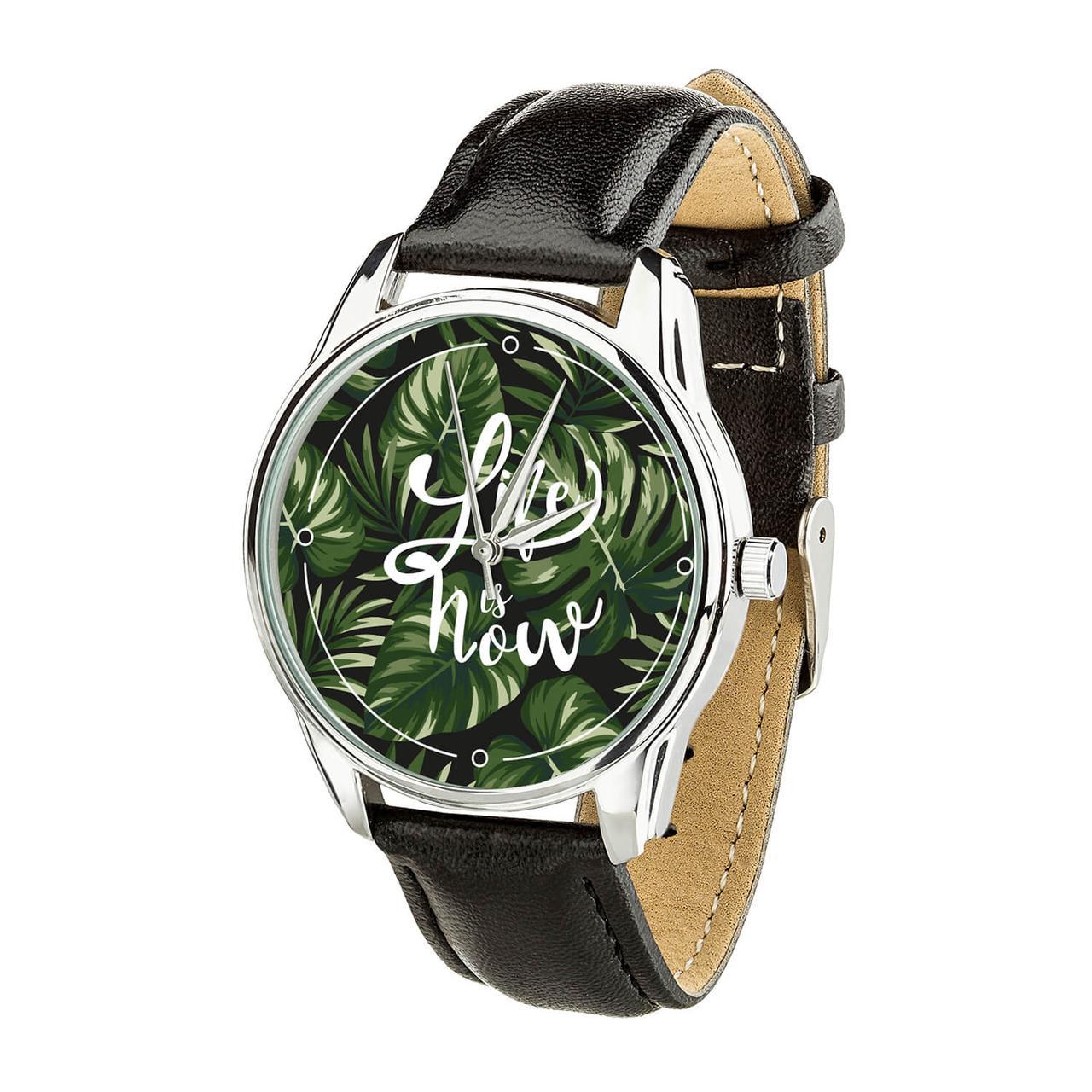 """Часы """"Тропики. Life is now"""" (ремешок насыщенно - черный, серебро) + дополнительный ремешок"""