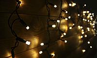 Гірлянда-бахрома led вулична Holiday є icicle 120LED 2*0,9 теп.біла (бел. кабель), фото 1