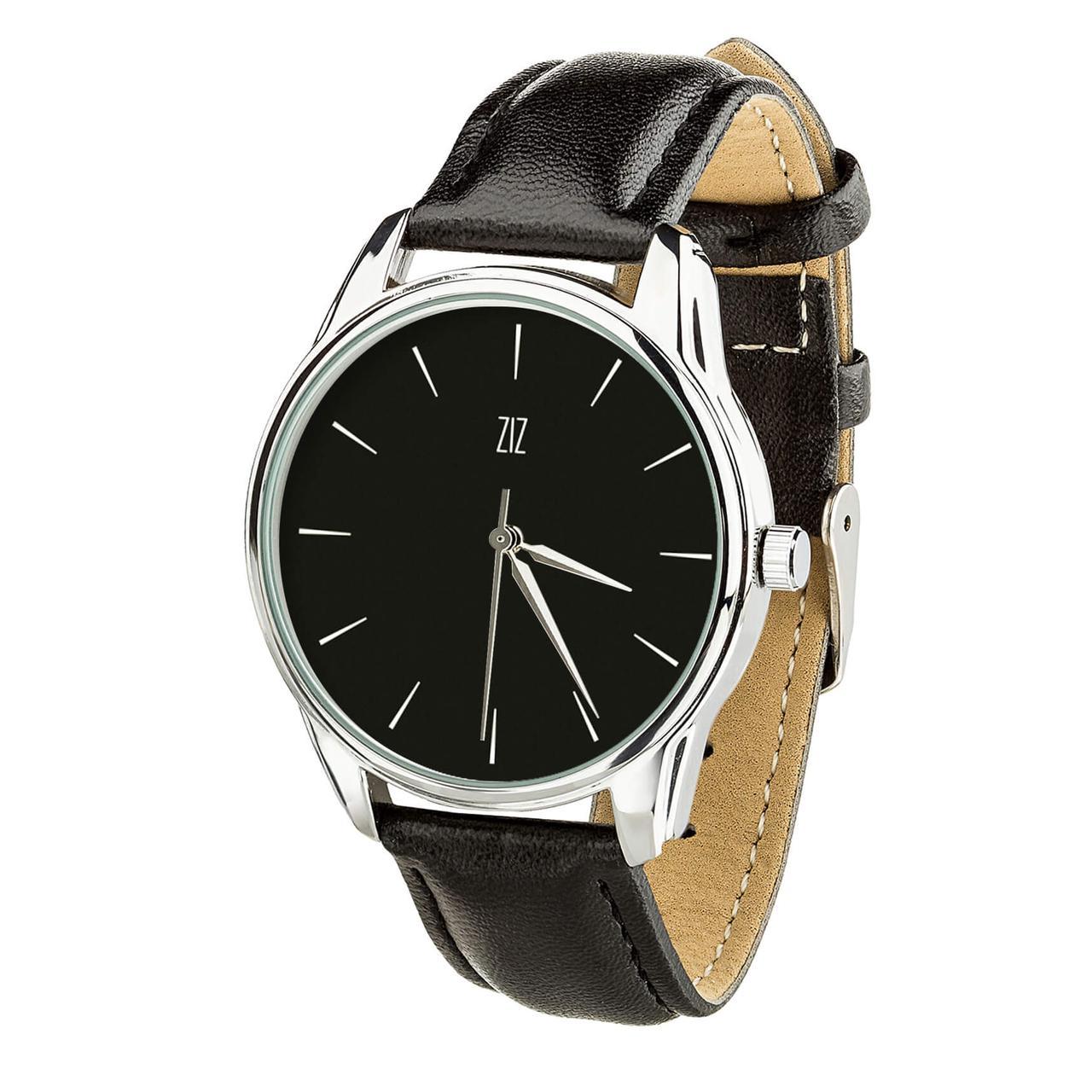 """Часы """"Белым по черному"""" (ремешок насыщенно - черный, серебро) + дополнительный ремешок"""