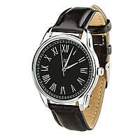 """Часы """"Римская классика черная"""" (ремешок насыщенно - черный, серебро) + дополнительный ремешок, фото 1"""