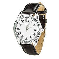 """Часы """"Римская классика белая"""" (ремешок насыщенно - черный, серебро) + дополнительный ремешок, фото 1"""