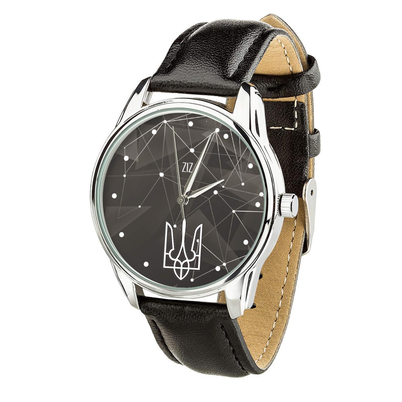 """Часы """"Герб"""" (ремешок насыщенно - черный, серебро) + дополнительный ремешок"""