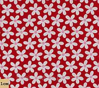 Дизайнерский хлопок, цветочек, красный. Ткань для пэчворка и рукоделия. PS-31