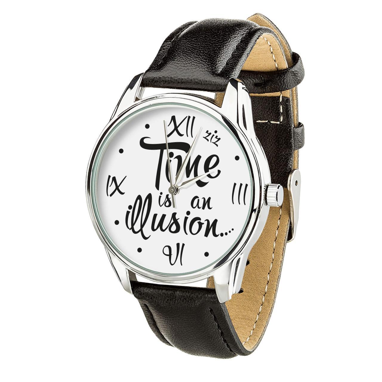 """Часы """"Иллюзия времени"""" (ремешок насыщенно - черный, серебро) + дополнительный ремешок"""