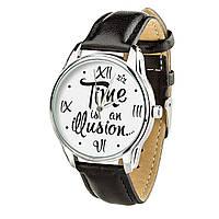 """Часы """"Иллюзия времени"""" (ремешок насыщенно - черный, серебро) + дополнительный ремешок, фото 1"""