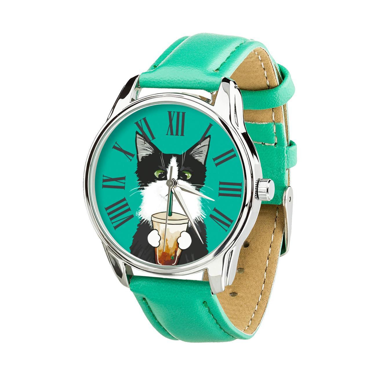 """Часы """"Кот со стаканом"""" (ремешок мятно - бирюзовый, серебро) + дополнительный ремешок"""