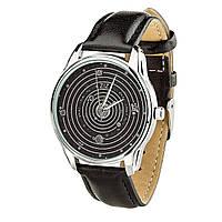 """Часы """"Планеты"""" (ремешок насыщенно - черный, серебро) + дополнительный ремешок, фото 1"""