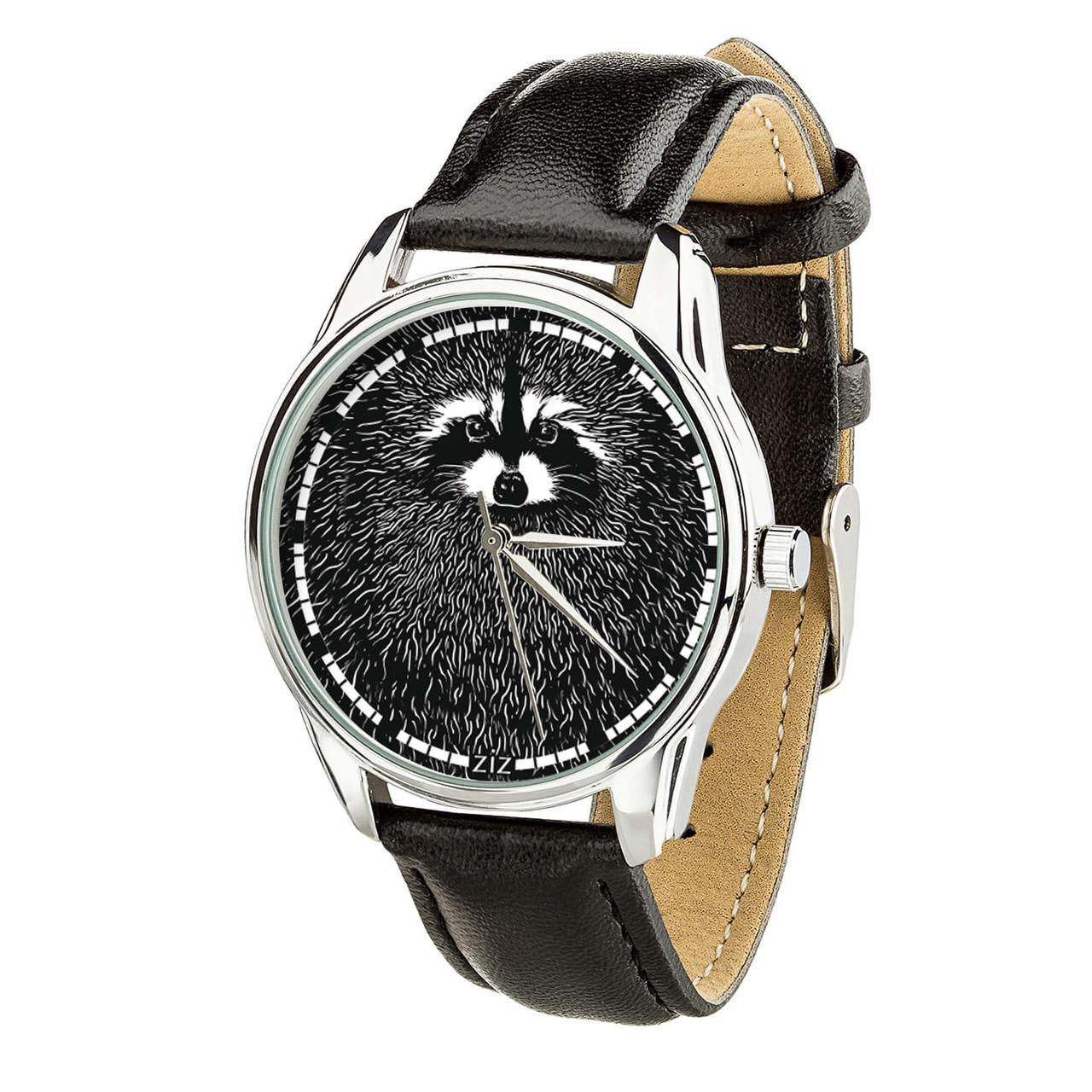 """Часы """"Енот"""" (ремешок насыщенно - черный, серебро) + дополнительный ремешок"""