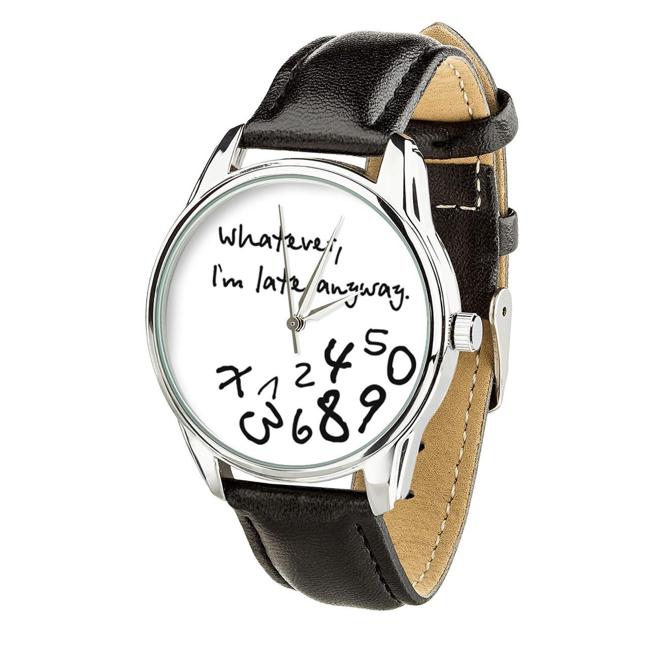"""Часы """"Late white"""" (ремешок насыщенно - черный, серебро) + дополнительный ремешок"""