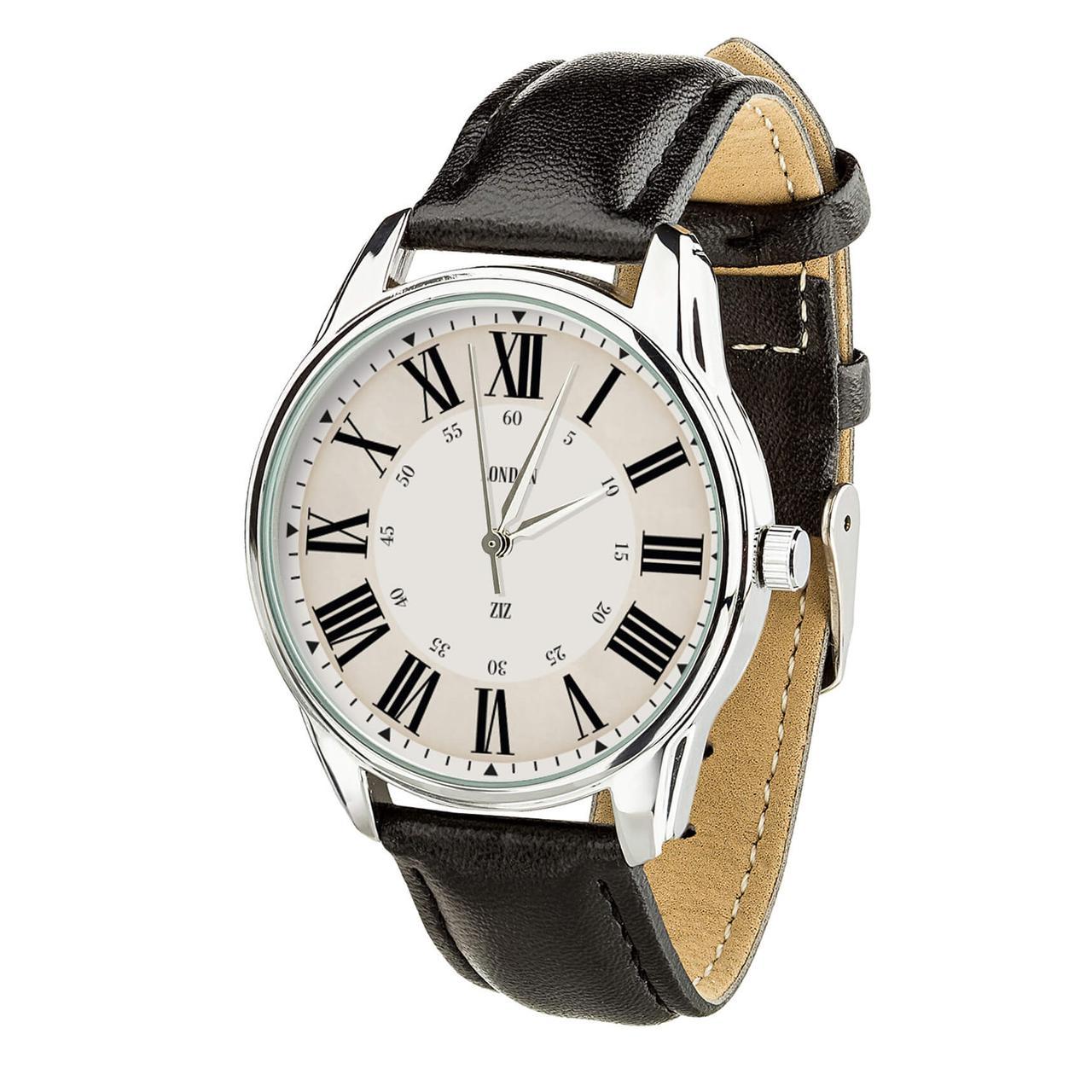"""Часы """"Лондонский вокзал"""" (ремешок насыщенно - черный, серебро) + дополнительный ремешок"""