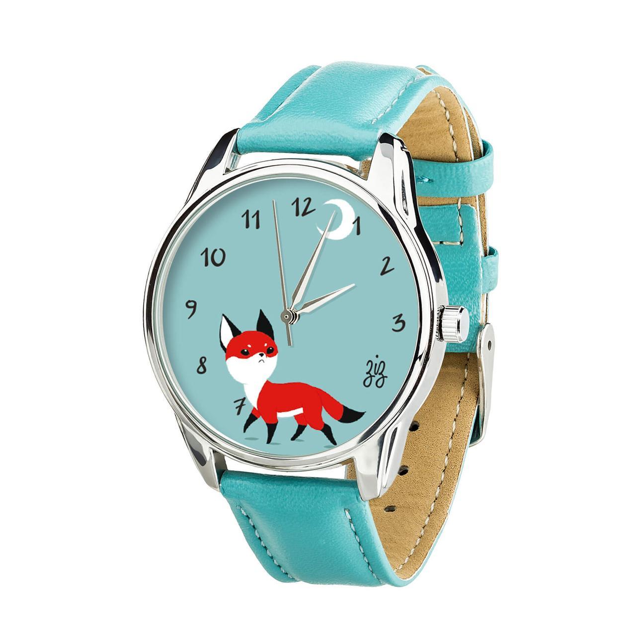"""Часы """"Маленький лис"""" (ремешок небесно - голубой, серебро) + дополнительный ремешок"""