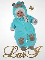 """Комбинезон для новорожденных """"Панда"""" на махре. Мятный, фото 1"""