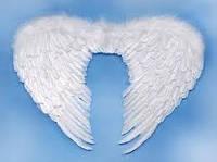 Крылья белые перьевые на маскарад ангела размер 80*55 для карнавала на Хэллоуин, Новый год