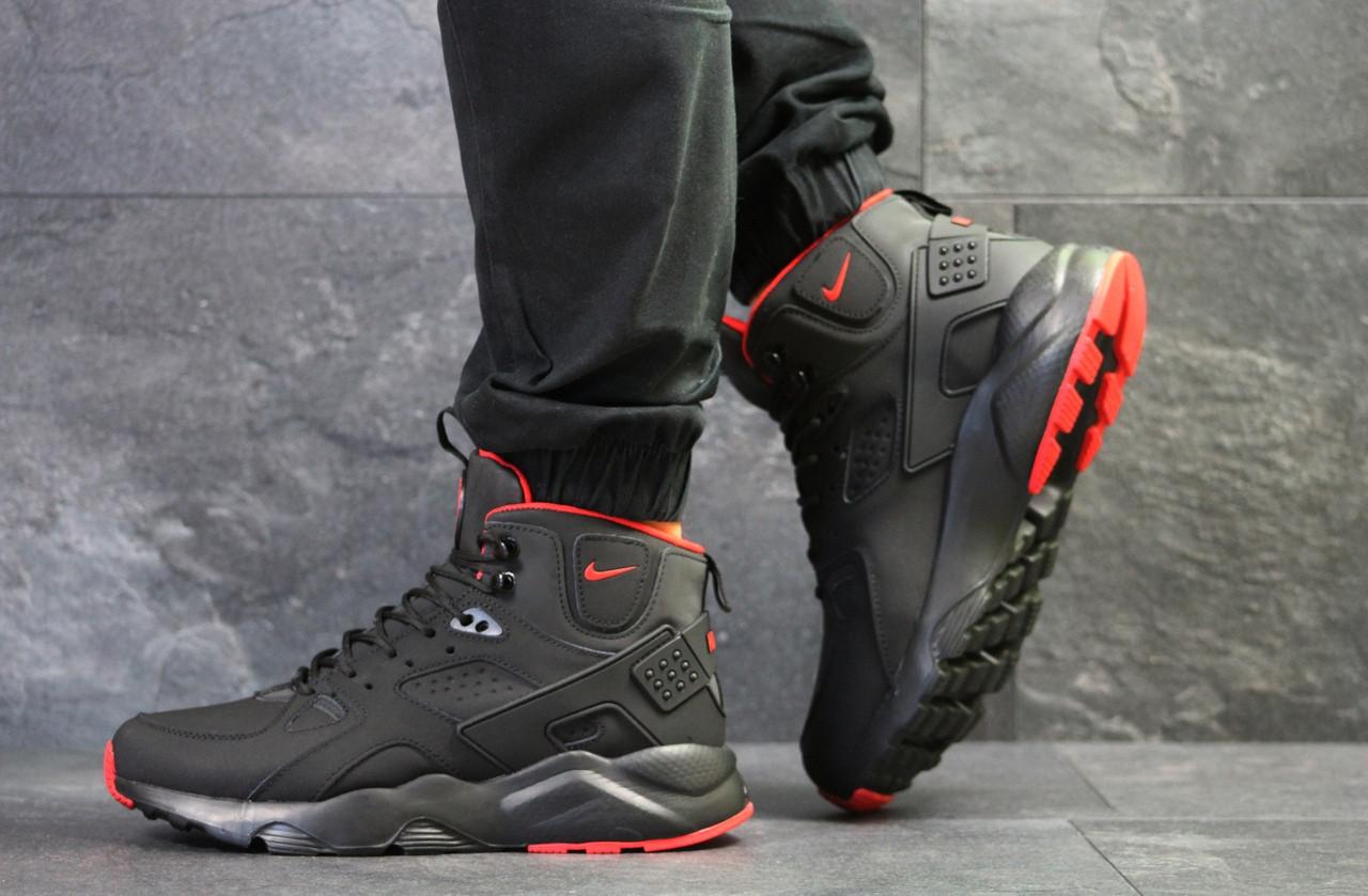 50b5cfa6 Я в шоке!™ | Мужские зимние кроссовки черные с красным Nike Huarache ...