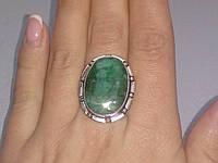 Изумруд кольцо с натуральным изумрудом в серебре 18.5 размер Индия, фото 1