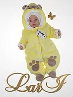 """Комбинезон для новорожденных """"Панда"""" на махре. Желтый, фото 1"""