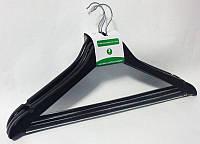 Чёрные деревянные плечики вешалки 44см с перекладиной