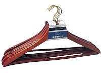 Деревянные плечики вешалки 44см с перекладиной цвет терракота, фото 1