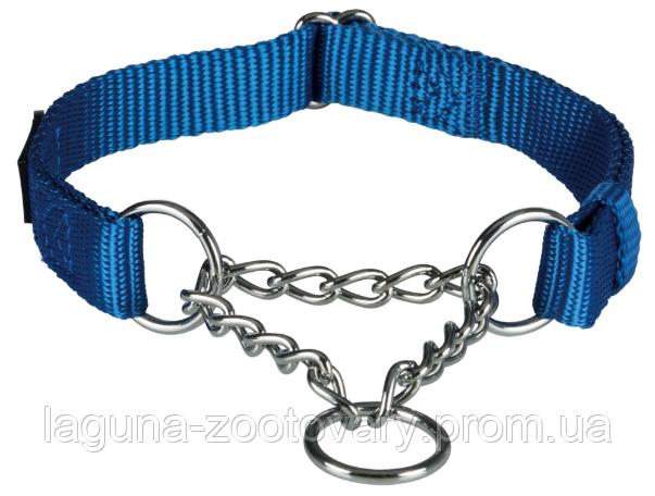 ТХ-202802 Ошейник Premium с металлической цепочкой,  M–L 35–50см/20мм, королевский синий для собак