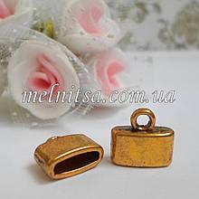Концевик-колпачок  для шнуров,плоский, 11,5х10 мм (внутр. 9 х 3 мм), цвет античное золото, 1 пара