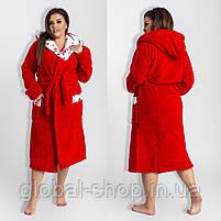 Длинный  женский халат с двойным капюшоном 022, размеры от 44 до 54, фото 2