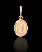 Золотой кулон овальный Амур