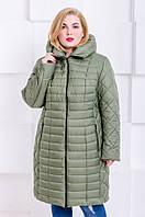 Женская стильная зимняя куртка размер плюс Флави хаки (54-64), фото 1
