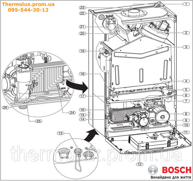 Внутреннее устройство двухконтурного газового котла Bosch Gaz 6000 W