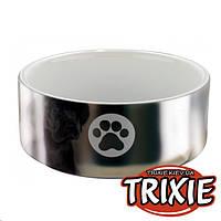 Trixie (Трикси) Миска керамическая для собак, серебро / белая, 800 мл /15 см