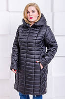 Женская стильная зимняя куртка размер плюс Флави черный (54-64)