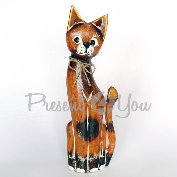 Деревянная статуэтка кот натуральный, 30 см (19262.2)