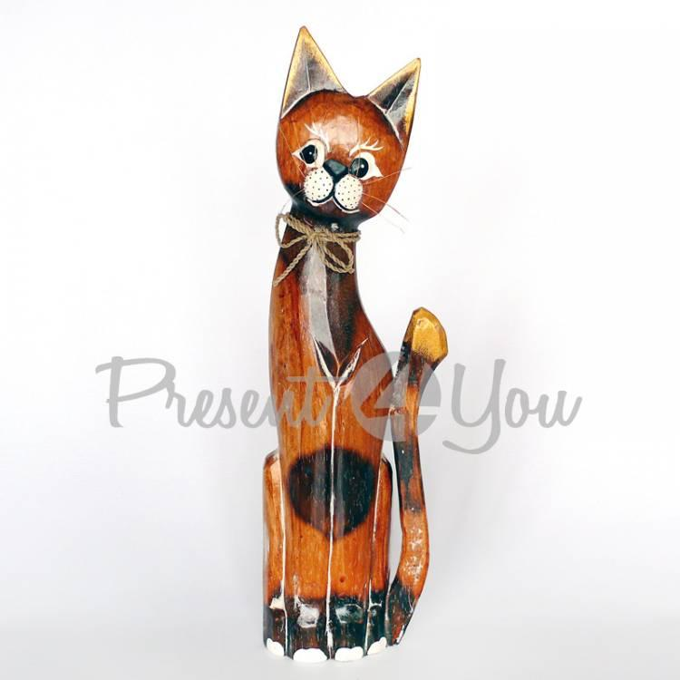 Деревянная статуэтка кот натуральный, 35 см (19262.1)