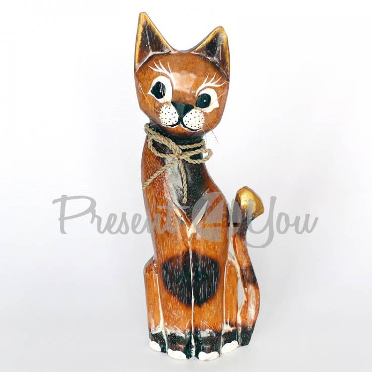 Деревянная статуэтка кот натуральный, 25 см (19262.3)