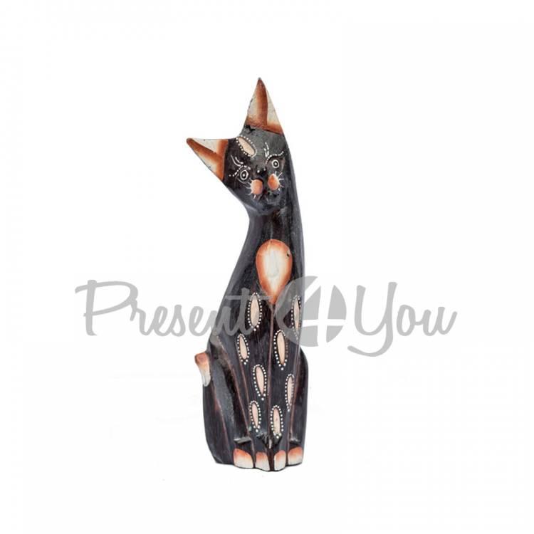Деревянная статуэтка кот «Дану», h-15 см