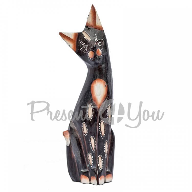 Деревянная статуэтка кот «Дану», h-25 см