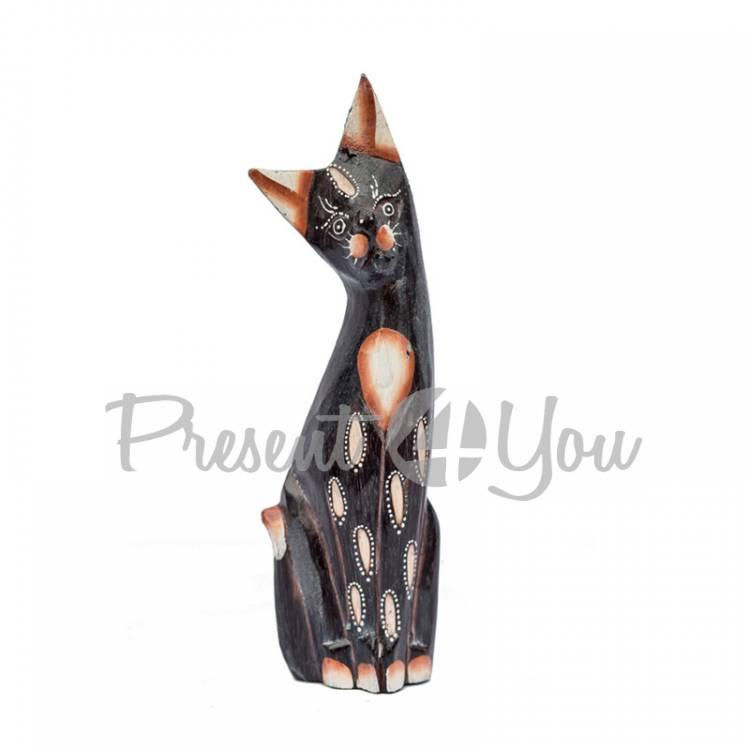 Деревянная статуэтка кот «Дану», h-20 см